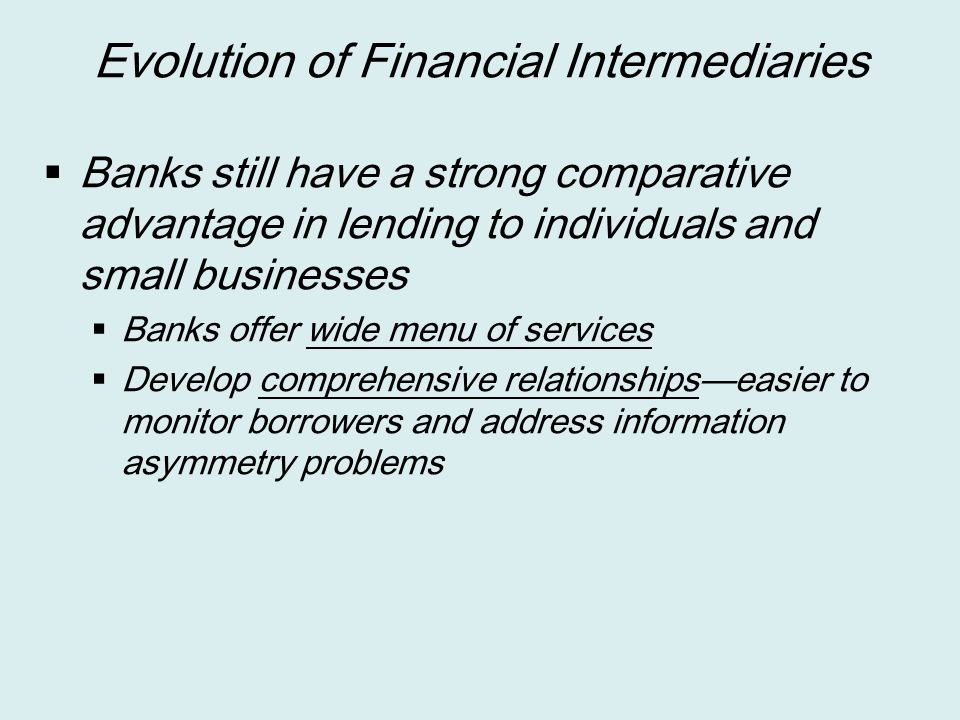 Evolution of Financial Intermediaries
