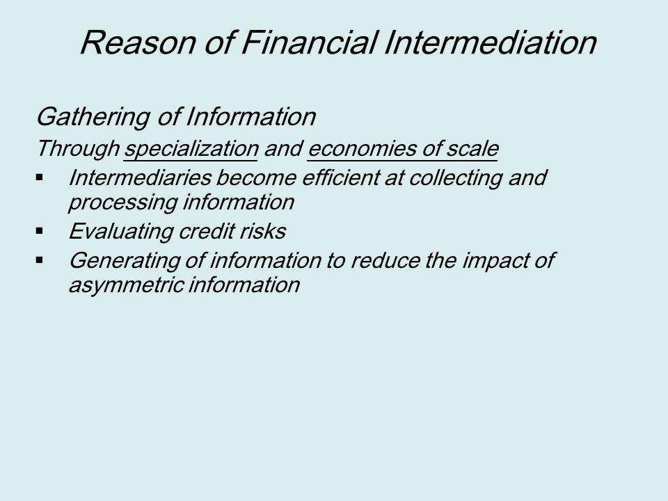 Reason of Financial Intermediation