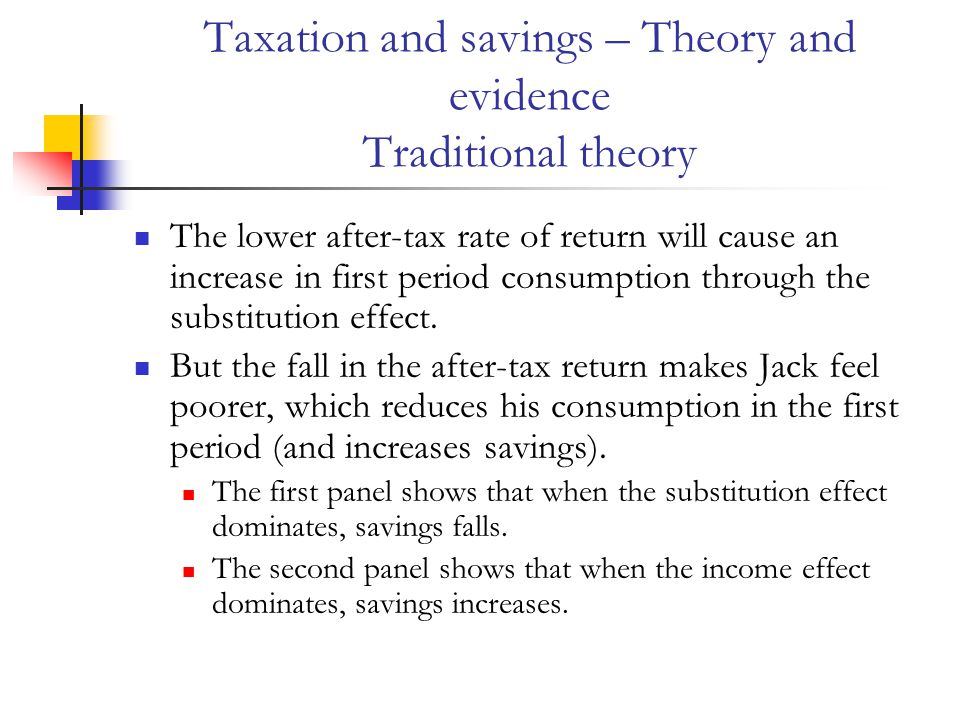 Taxation and savings – Theory and evidence Traditional theory