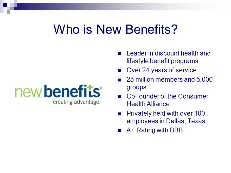Who is New Benefits Leader in discount health and lifestyle benefit programs. Over 24 years of service.