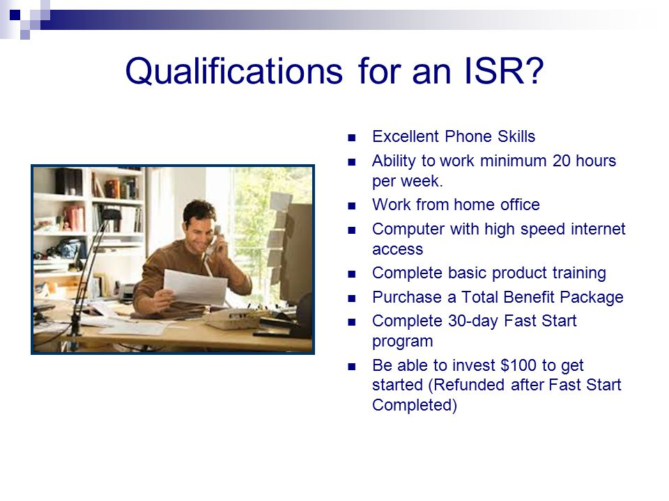 Qualifications for an ISR