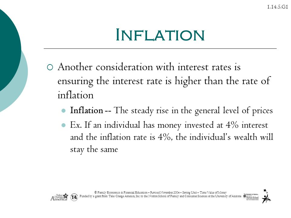 Inflation Another consideration with interest rates is ensuring the interest rate is higher than the rate of inflation.