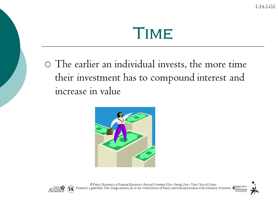 Time The earlier an individual invests, the more time their investment has to compound interest and increase in value.