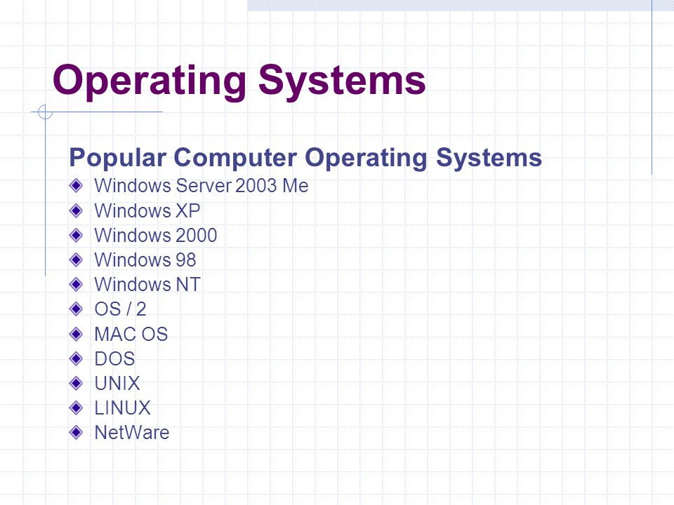 Operating Systems Popular Computer Operating Systems
