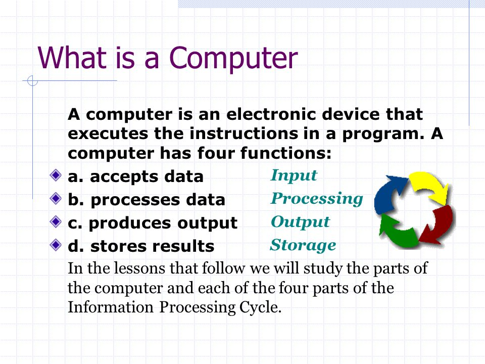 What is a Computer A computer is an electronic device that executes the instructions in a program. A computer has four functions:
