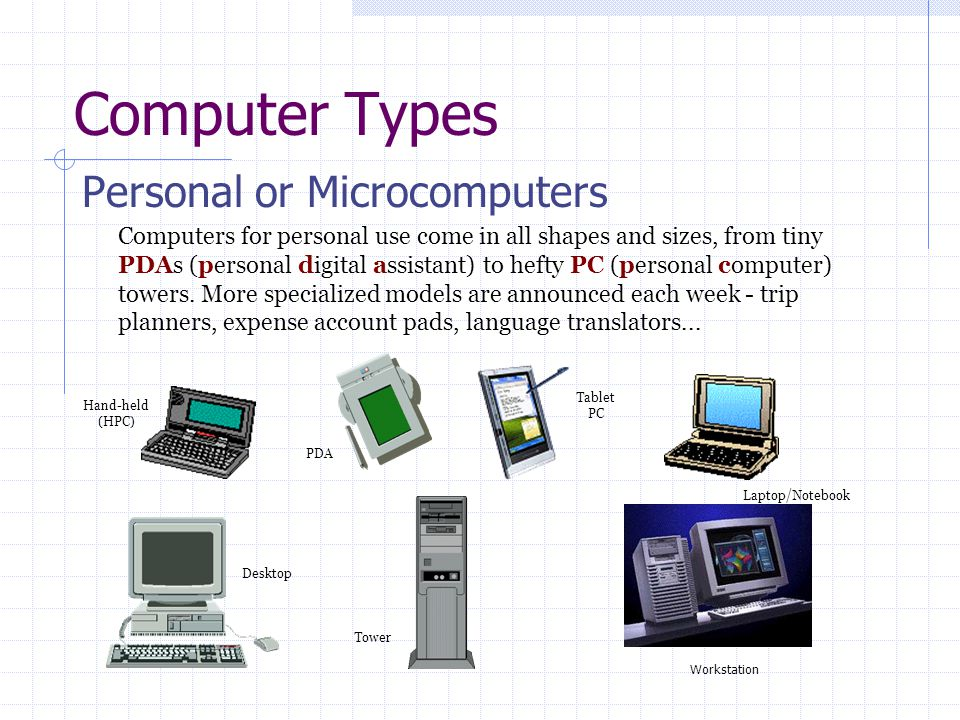 Computer Types Personal or Microcomputers