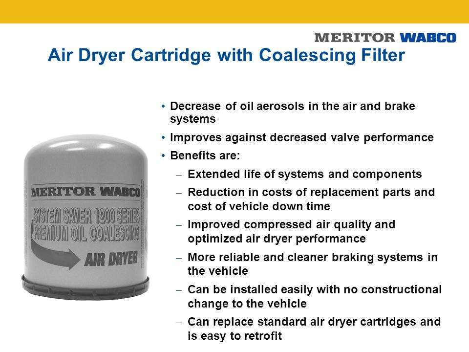 Air Dryer Cartridge with Coalescing Filter