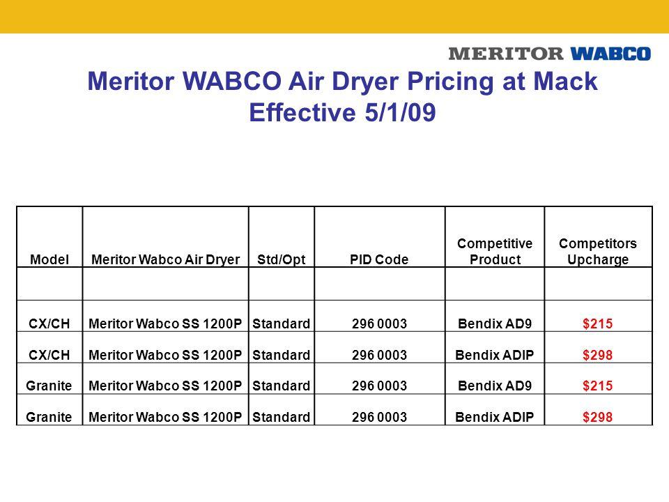 Meritor WABCO Air Dryer Pricing at Mack Meritor Wabco Air Dryer