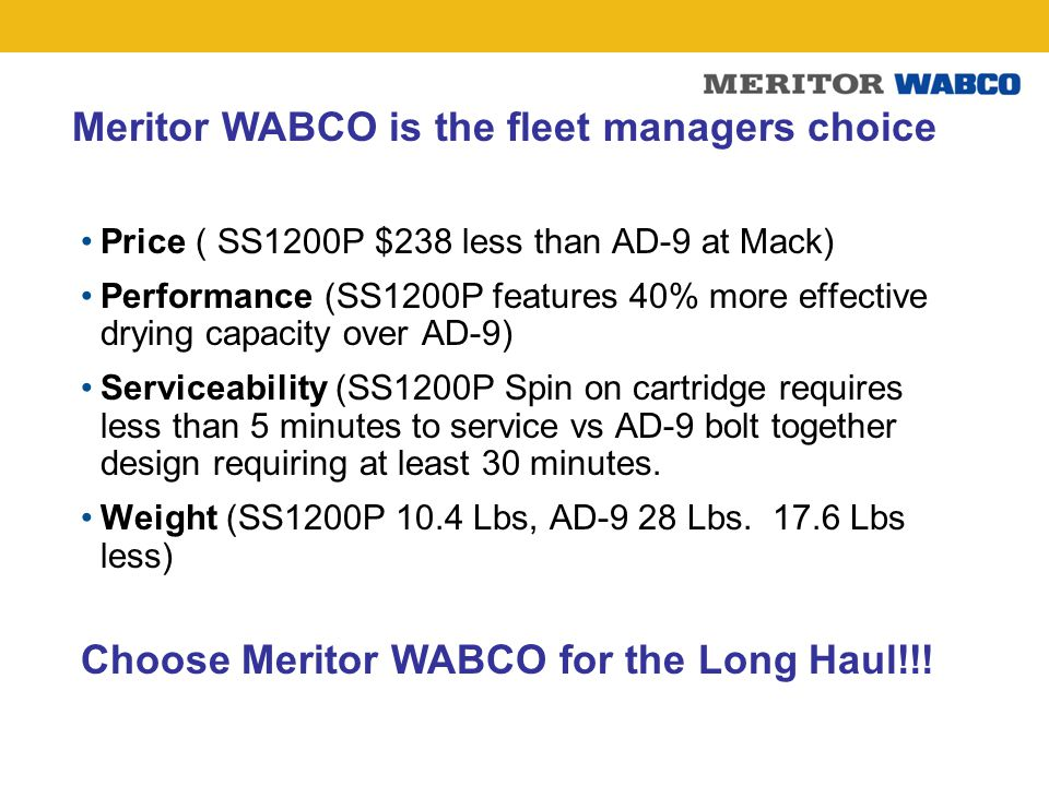 Meritor WABCO is the fleet managers choice