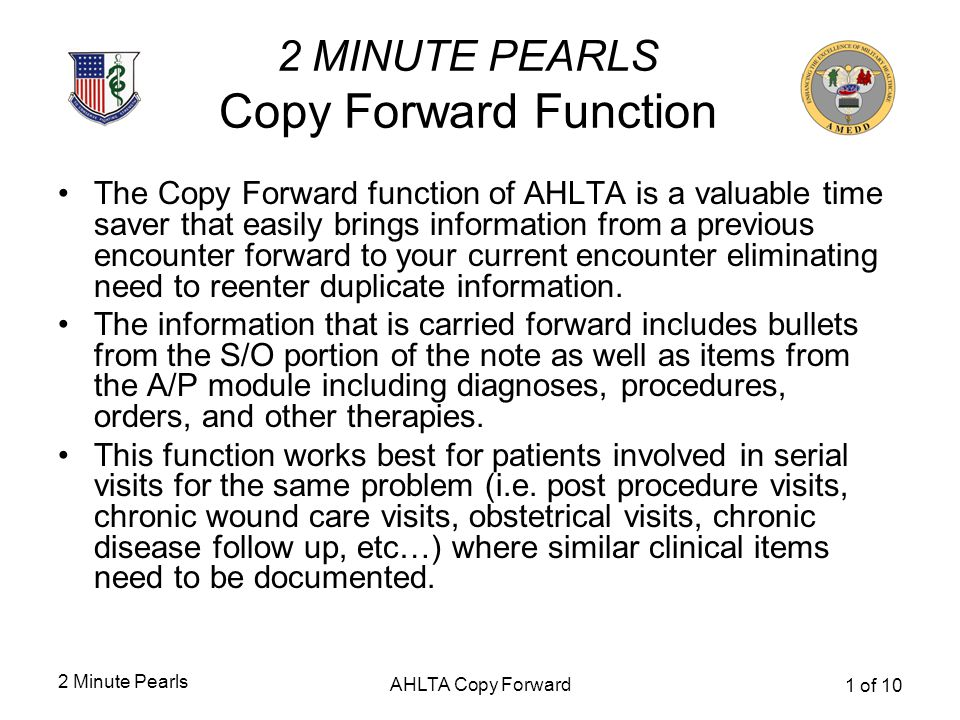 2 MINUTE PEARLS Copy Forward Function