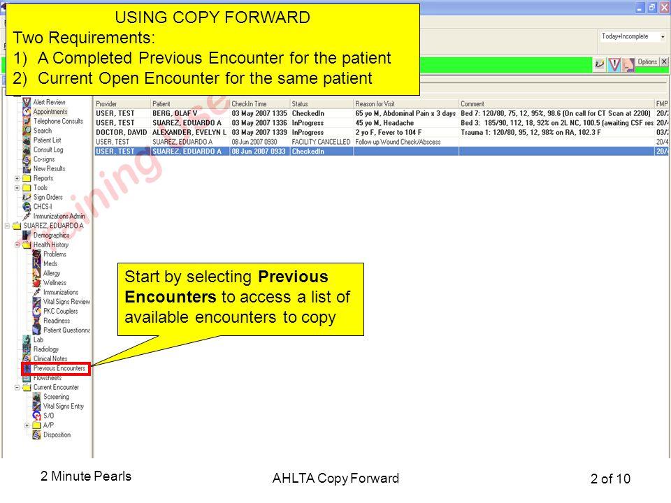 Accessing Copy Forward Function