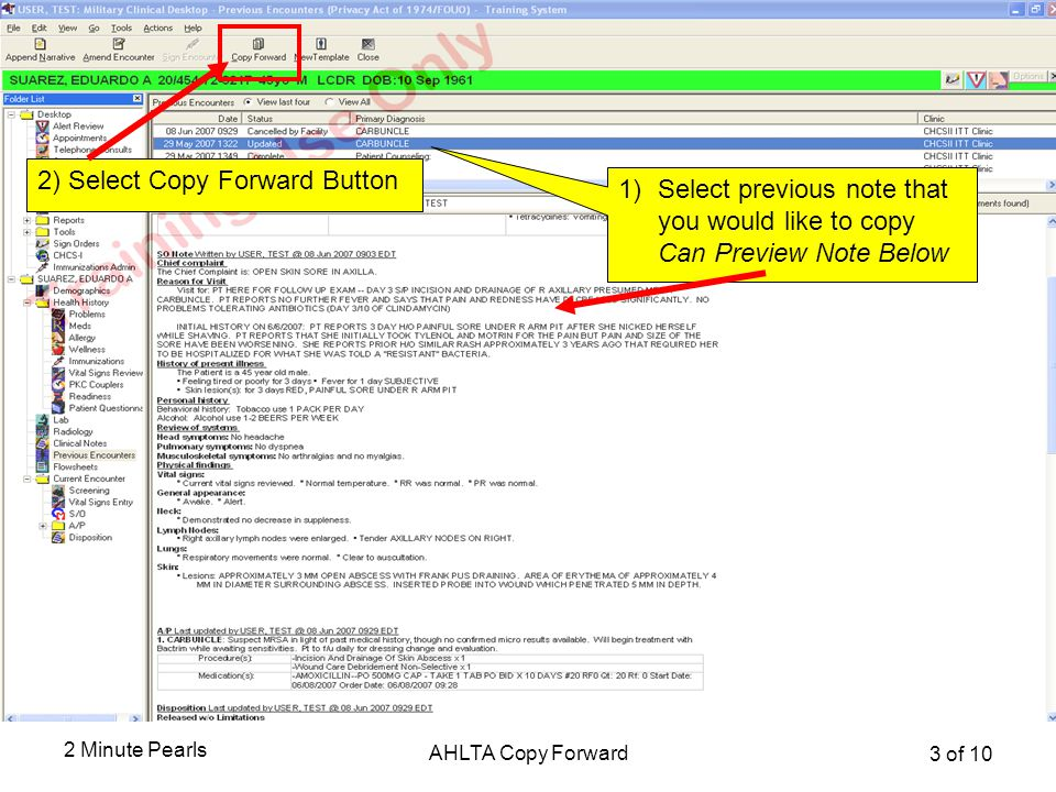 Selecting Previous Note to Copy Forward