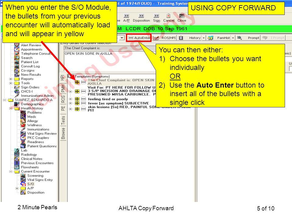 Using Copy Forward in the S/O Module