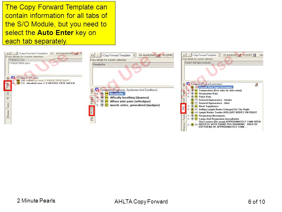 The Copy Forward Template can contain information for all tabs of