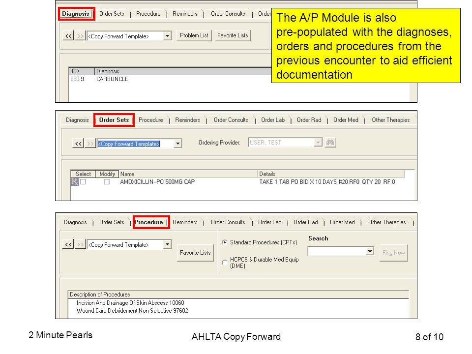 Using Copy Forward in the A/P Module