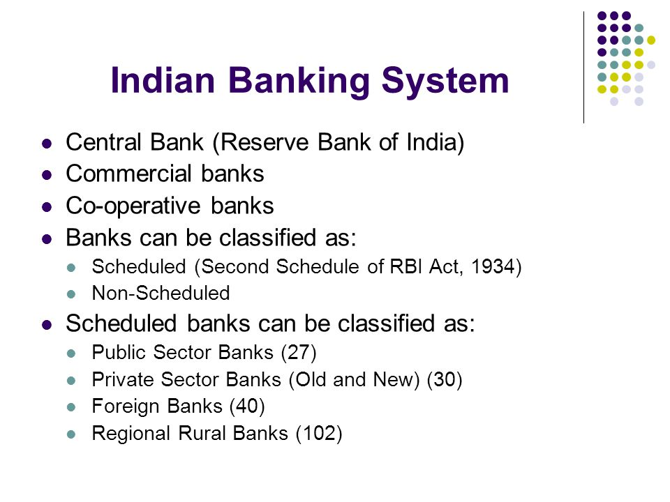 Indian Banking System Central Bank (Reserve Bank of India)