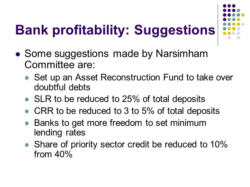 Bank profitability: Suggestions