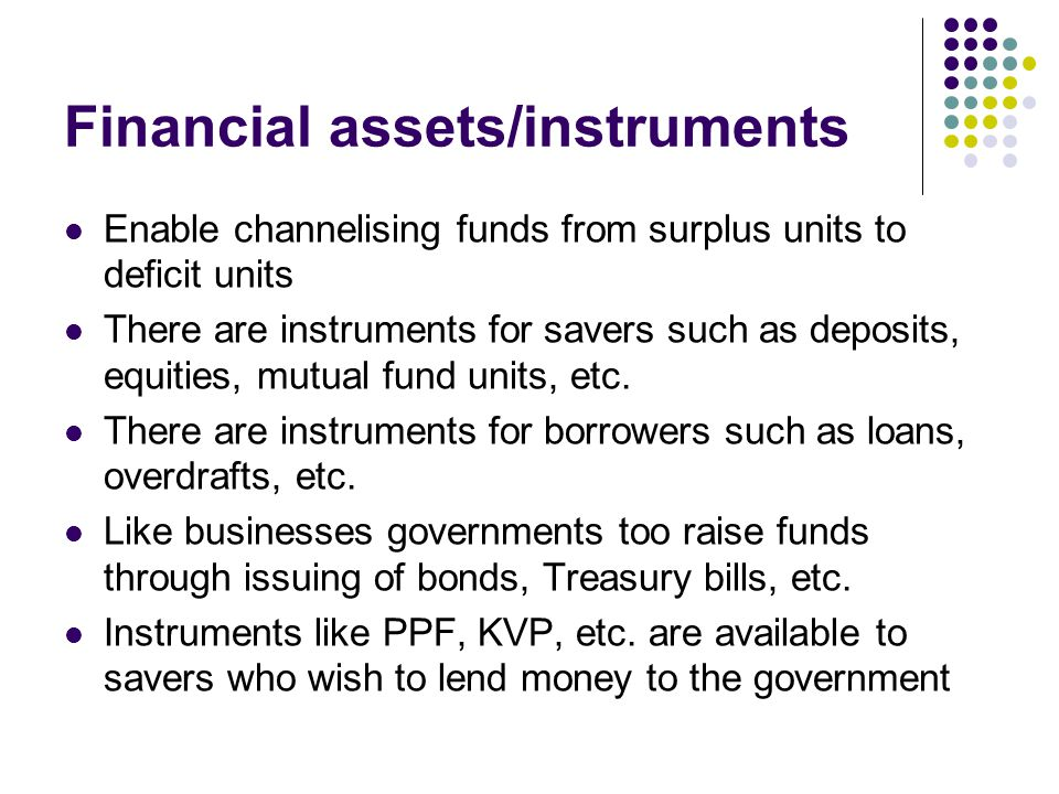 Financial assets/instruments