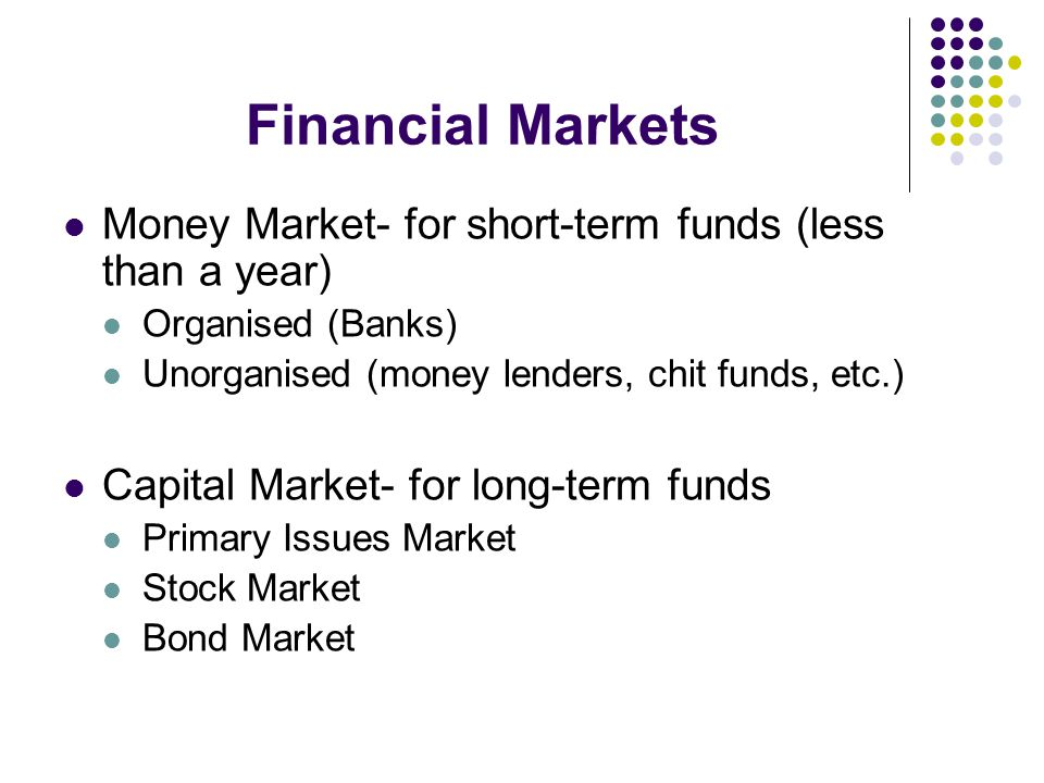Financial Markets Money Market- for short-term funds (less than a year) Organised (Banks) Unorganised (money lenders, chit funds, etc.)