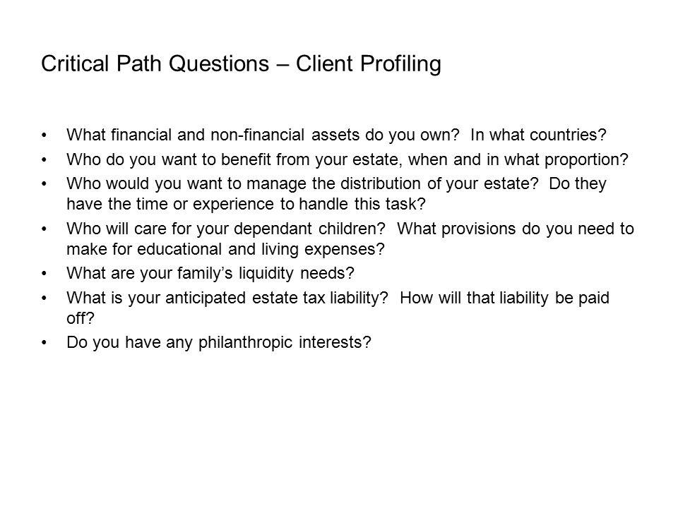 Critical Path Questions – Client Profiling