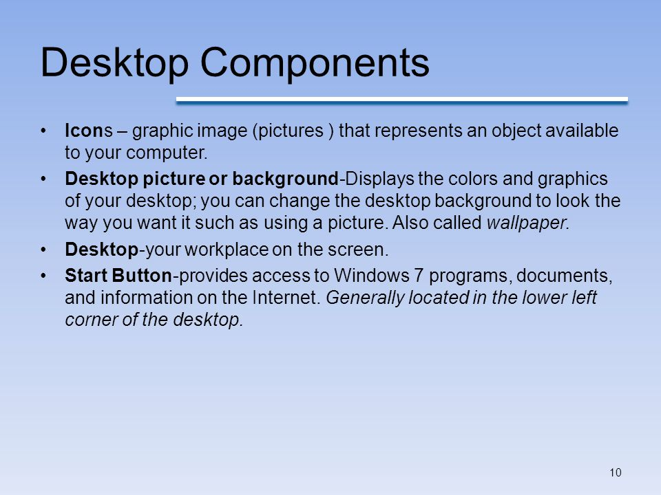 Desktop Components Icons – graphic image (pictures ) that represents an object available to your computer.