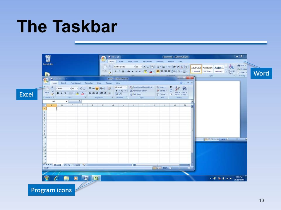The Taskbar Word Excel Program icons