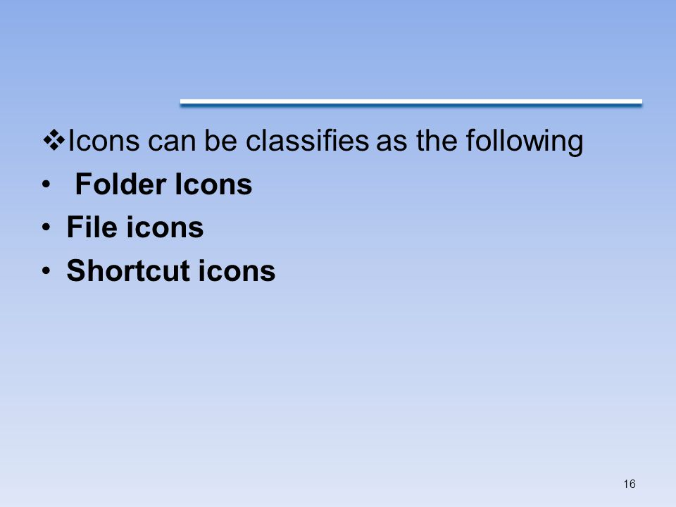Icons can be classifies as the following