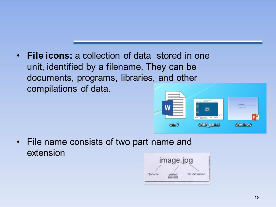 File icons: a collection of data stored in one unit, identified by a filename. They can be documents, programs, libraries, and other compilations of data.