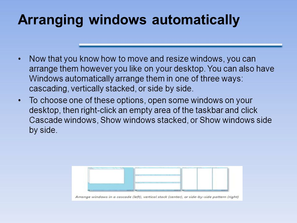 Arranging windows automatically
