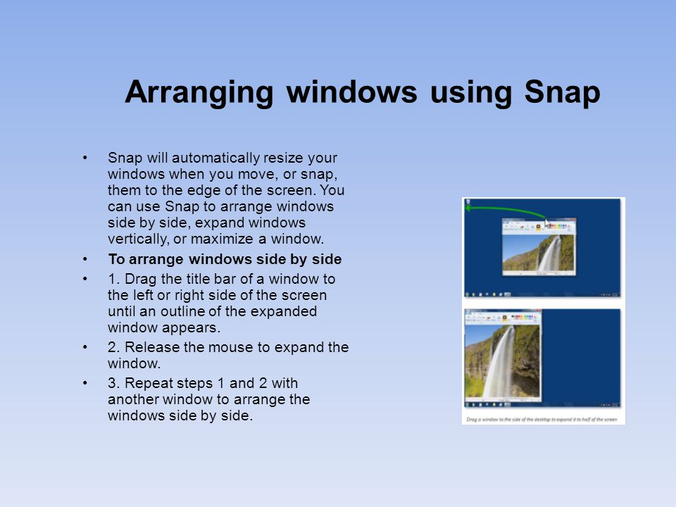 Arranging windows using Snap