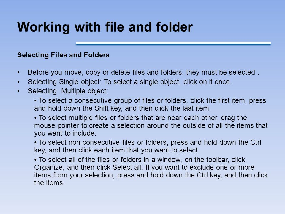 Working with file and folder
