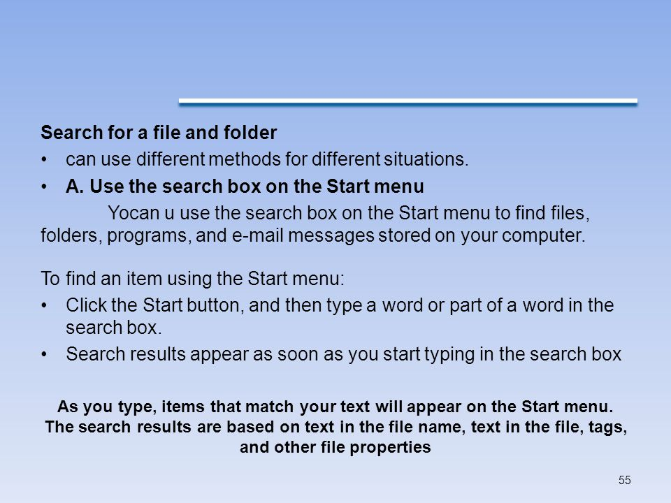 Search for a file and folder