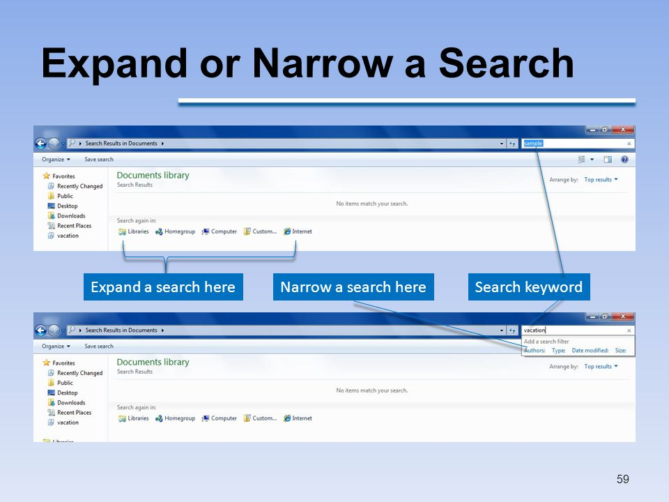 Expand or Narrow a Search