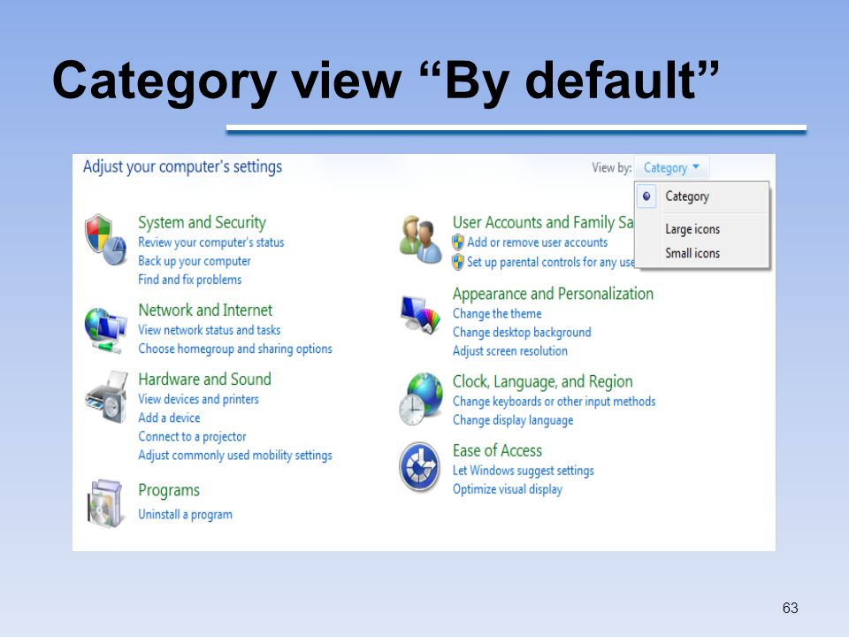 Category view By default