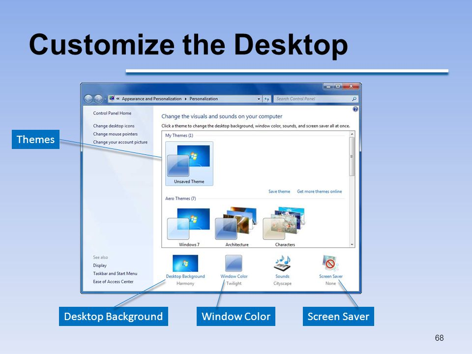 Customize the Desktop Themes Desktop Background Window Color