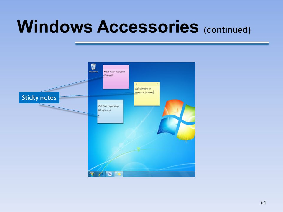 Windows Accessories (continued)