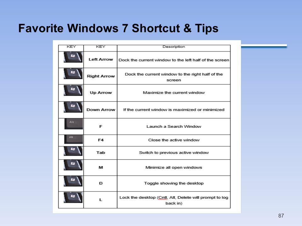 Favorite Windows 7 Shortcut & Tips