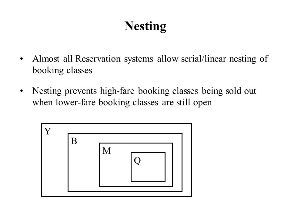 Nesting Almost all Reservation systems allow serial/linear nesting of booking classes.
