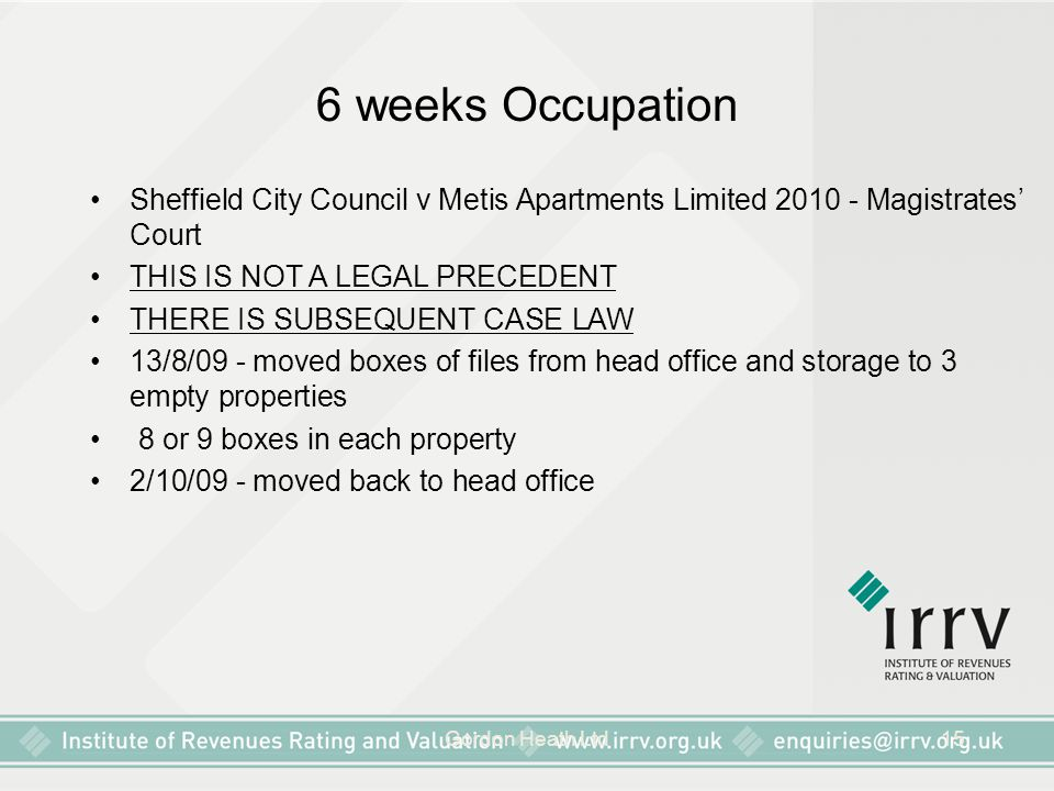 6 weeks Occupation Sheffield City Council v Metis Apartments Limited 2010 - Magistrates' Court. THIS IS NOT A LEGAL PRECEDENT.