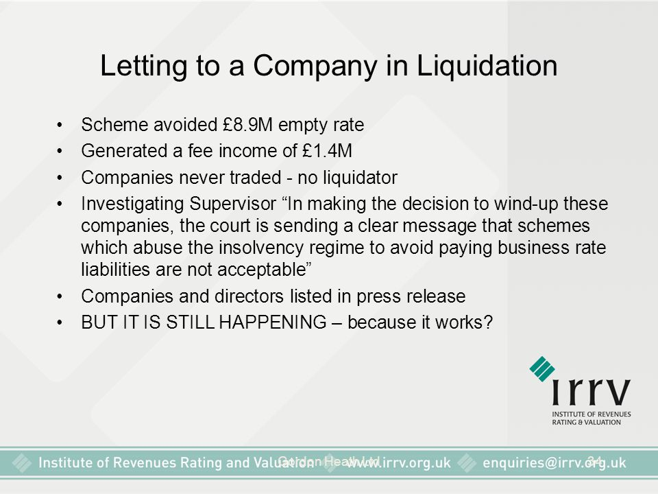 Letting to a Company in Liquidation