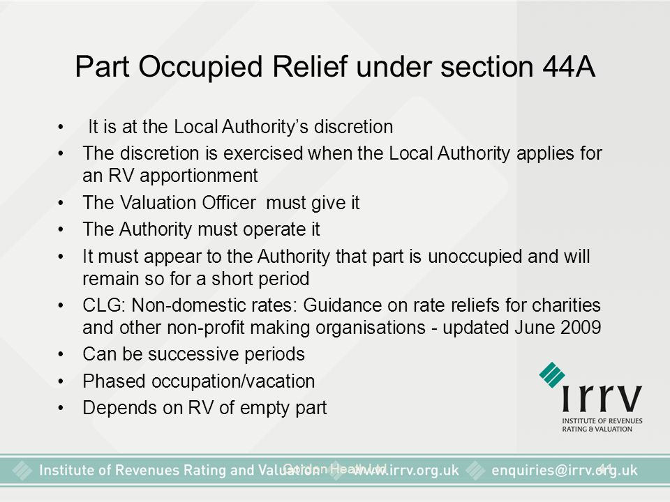 Part Occupied Relief under section 44A