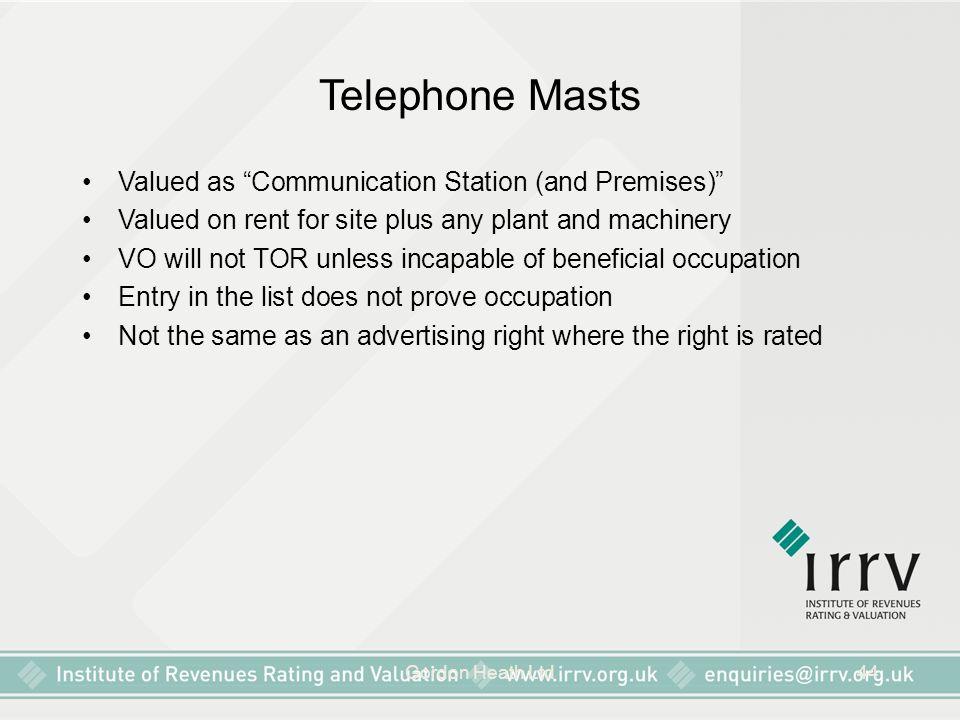 Telephone Masts Valued as Communication Station (and Premises)