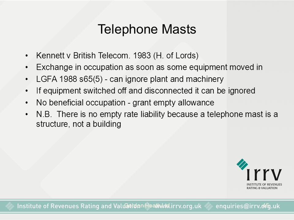 Telephone Masts Kennett v British Telecom. 1983 (H. of Lords)