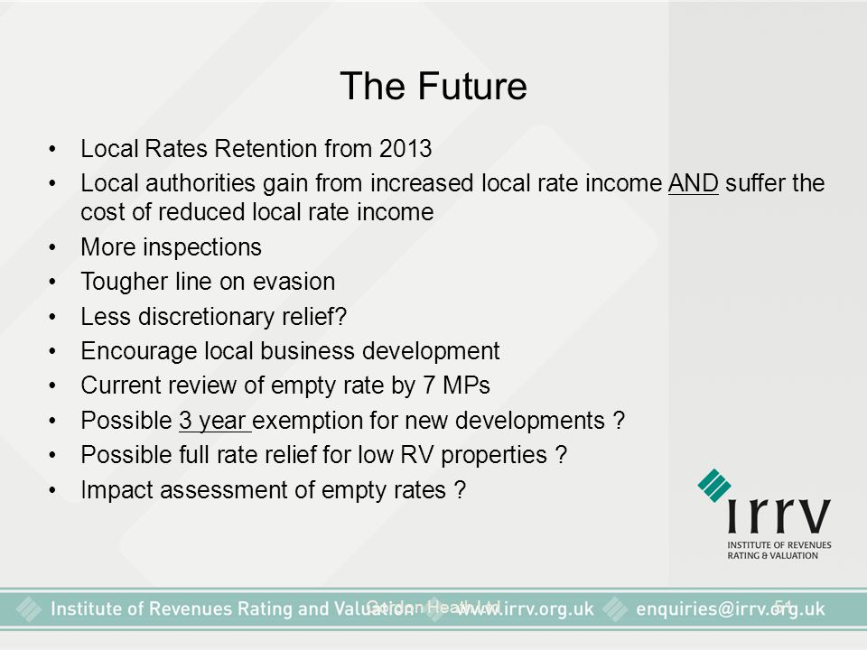 The Future Local Rates Retention from 2013