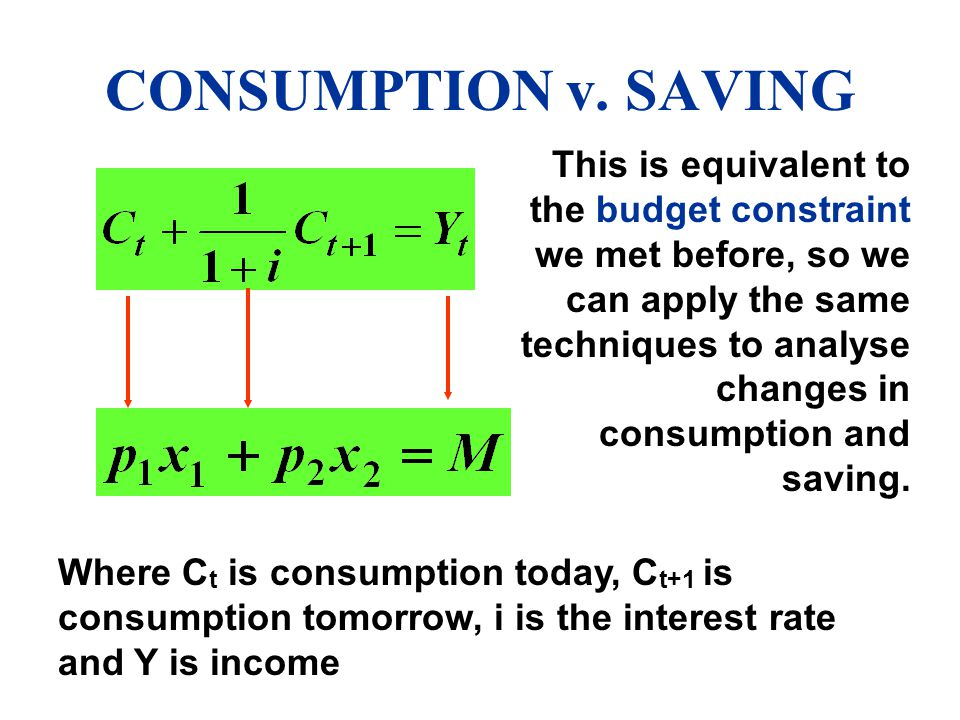 CONSUMPTION v. SAVING