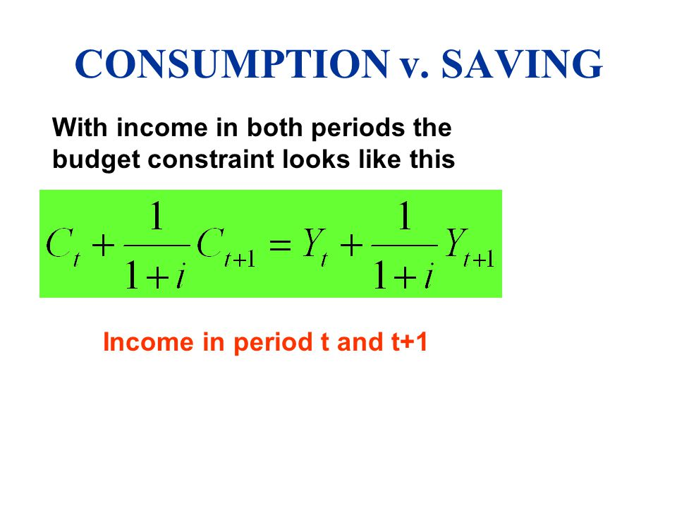 CONSUMPTION v. SAVING With income in both periods the budget constraint looks like this.