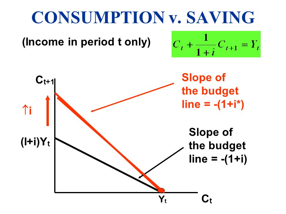 CONSUMPTION v. SAVING (Income in period t only)