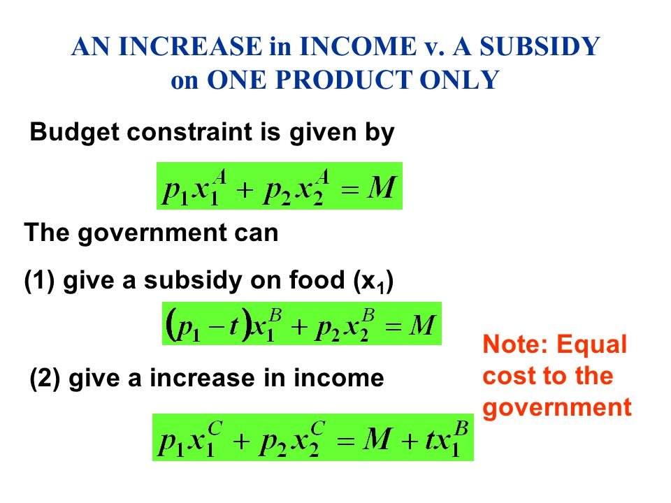 AN INCREASE in INCOME v. A SUBSIDY on ONE PRODUCT ONLY