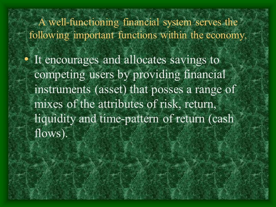 A well-functioning financial system serves the following important functions within the economy.