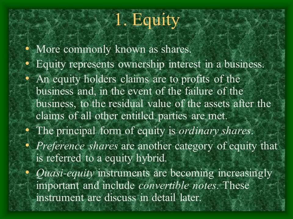 1. Equity More commonly known as shares.